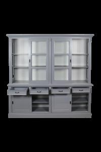 Buffetschrank Provence - 220 cm - grau / weiß
