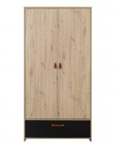ARTHUS - Armoire 2 portes 1 tiroir Chêne artisan