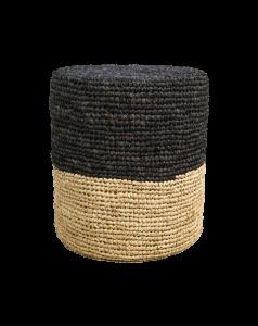 Pouf Malibu - Raffia - ø40 cm - natürlich / schwarz