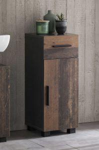 Bad Casa - Unterschrank mit 1 Tür und 1 Schublade, stehende und hängende Montage möglich - Korpus Graphit Dekor und Front Old Style Dekor Melamin