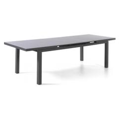 Calvi table 220/280 x 100 alu charcoal glass grey