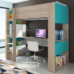 BO5 High sleeper bed with desk Oak/Blue color