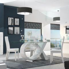 Esstisch Elif 200x100 mit Glasplatte - hochglänzend weiß