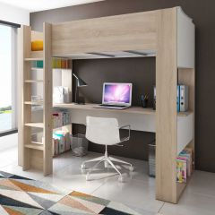 BO5 High sleeper bed with desk Oak/White color