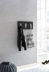 Garderobenpaneel quer mit 3 Klapphaken - Melamin Dekor Graphit