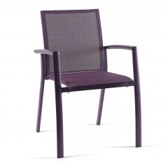Rimini stacking chair alu purple mat text purle