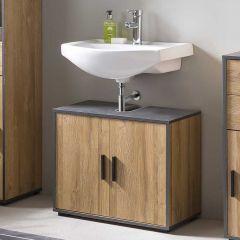 Bad Adria - Waschbecken Unterschrank 65 cm breit mit 2 Türen - Korpus Alteiche Dekor, Absatz Graphit