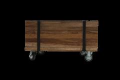 Couchtisch Singa auf Rädern - 50x50 cm - natürlich - Teak / Eisen