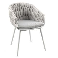 Vigo dining  chair alu white sock sunbrella grey