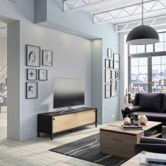 RANGEMENT JOUR - ARIZONA TV unit with 2 sliding doors Natural chestnut