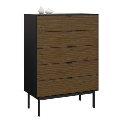 Dresser SOMA 017 - Chest with 5 drawers - BLACK/ESPRESSO