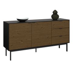 Sideboard SOMA 027 - Sideboard with 2 doors and 3 drawers - BLACK/ESPRESSO