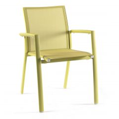 Rimini stacking chair alu lime green mat text li