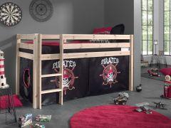Halbhochbett Charlotte natur mit Spielzelt Pirates