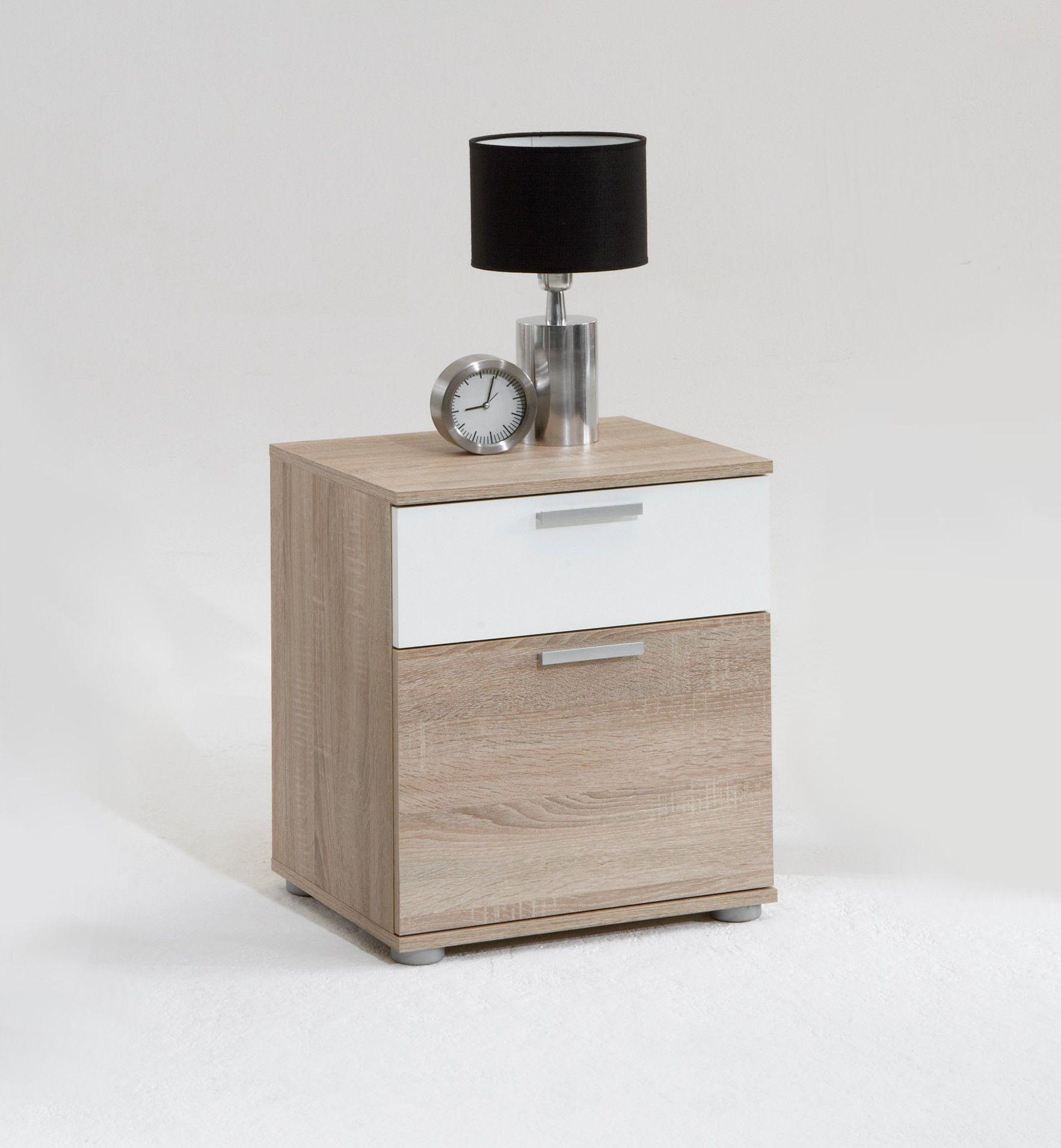 Nachttisch Jack Mit 2 Schubladen Braune Eiche Weiss Fmd Emob