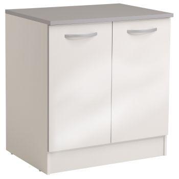 Basiseinheit Löffel 80 cm mit 2 Türen - glänzend weiß