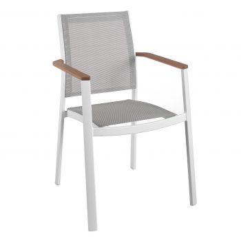 Bilbao stacking chair alu white teak arm