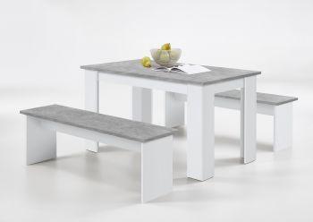 Gedeckter Esstisch + 2 Bänke Mundo - Beton/Weiß