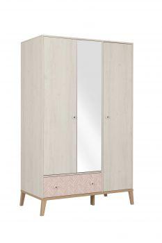 ALIKA - Armoire 3 portes 1 tiroir Châtaignier blanchi
