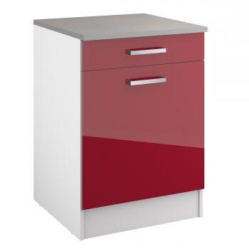 Unterschrank Eli 60 cm mit Schublade und Tür - rot