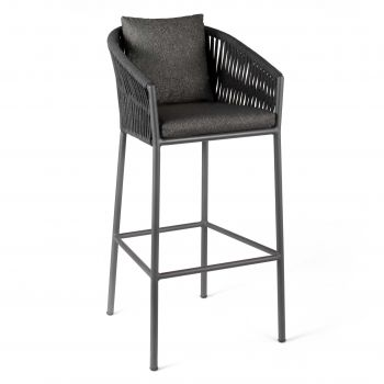 Gabon bar chair alu charcoal rope dark grey +c