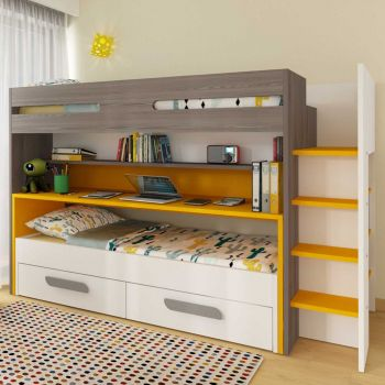 BO10 Bunk bed with desk Sunflower color