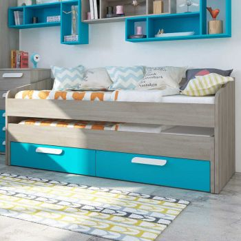 BO12 Trundle bed 2 drawers 200cm Caribbean Blue color