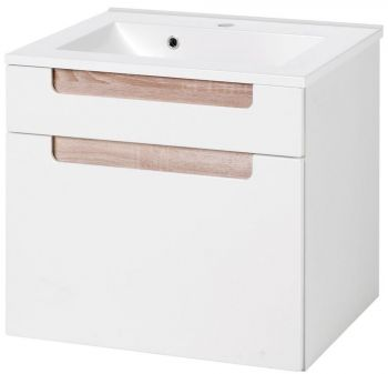 Siena 60cm Waschtischunterschrank - weiß/braun