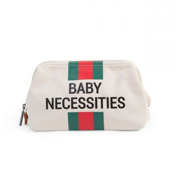 Baby Necessities Canvas Off White Stripes Green/Red