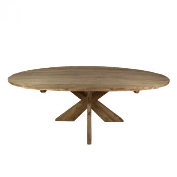 Esstisch Mosy 180x100cm oval mit Kreuzbein natur/teak