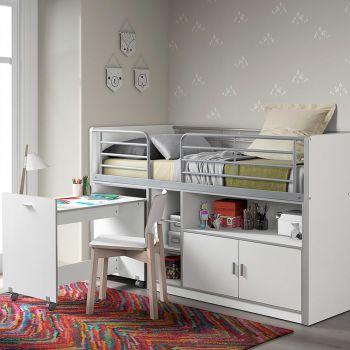 Halbhochbett mit Schreibtisch Bonny 91 - weiß