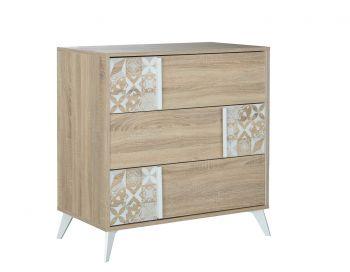 RANGEMENT NUIT - CHLOE 3-drawer chest Sonoma oak