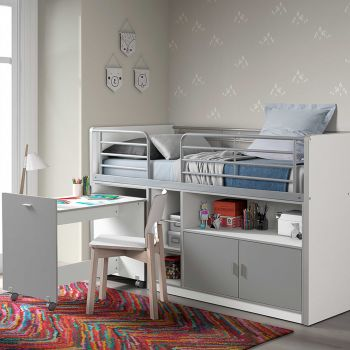 Halbhochbett mit Schreibtisch Bonny 91 - silber