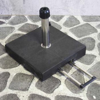 Parasolvoet black granite 40 kg met trolleysysteem