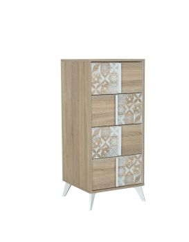 RANGEMENT NUIT - CHLOE tall chest with 4 drawers Sonoma oak