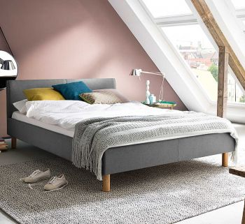 Gestoffeerd bed Lena - 140x200 cm - Lichtgrijs