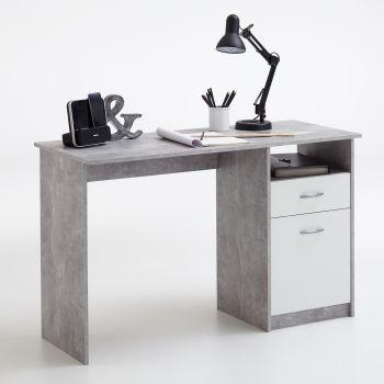 Schreibtisch Jady - Beton/weiß