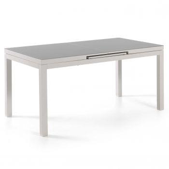 Ausziehbarer Gartentisch Calvi 160/210 - weiß/grau