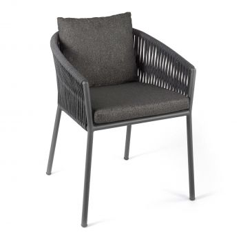 Gabon dining chair alu charcoal rope dark grey + c