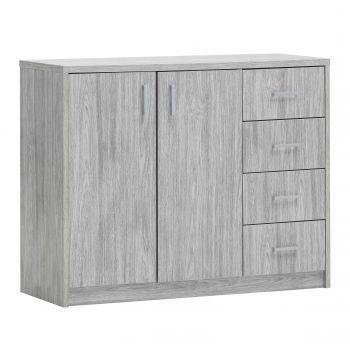 Kommode Spacio 2 Türen & 4 Schubladen H 84cm - Eiche grau