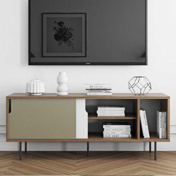 Sideboard Danny - grau/nussbaum - Metallbeine