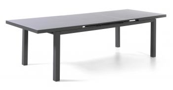 Calvi table 220/280 x 100 alu charcoal glass grey