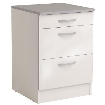 Unterteil Löffel 60 cm mit 3 Schubladen - glänzend weiß