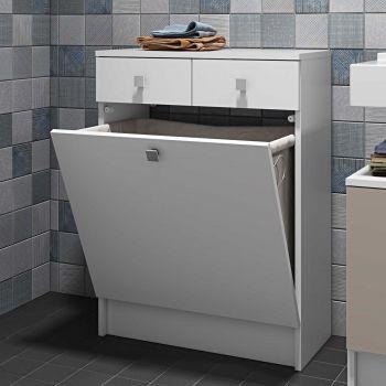 Badezimmerschrank Combi Junior mit Wäschekorb - weiß