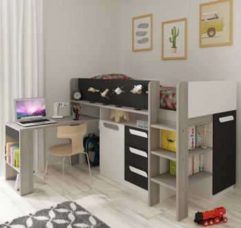 BO8 Mid-Sleeper bed Molina+White+Graphite color