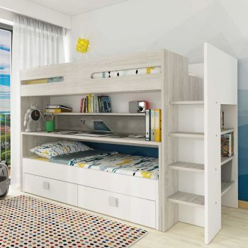 BO10 Bunk bed with desk Cascina/White