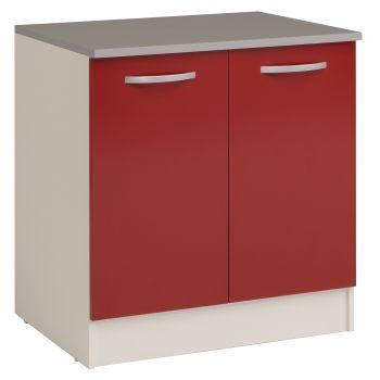 Unterschrank Eko 80 cm für Spüle mit 2 Türen - rot