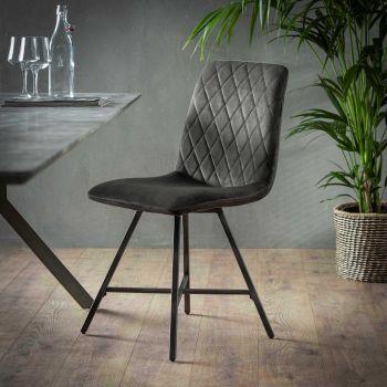 Stuhl Diamant Flachrohr - Set von 4  - Anthrazit velvet
