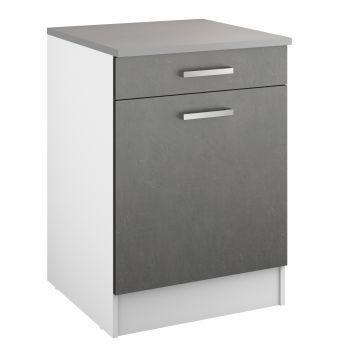 Unterschrank Eli 60 cm mit Schublade und Tür - Beton