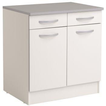 Unterteil Löffel 80 cm mit 2 Schubladen und 2 Türen - weiß